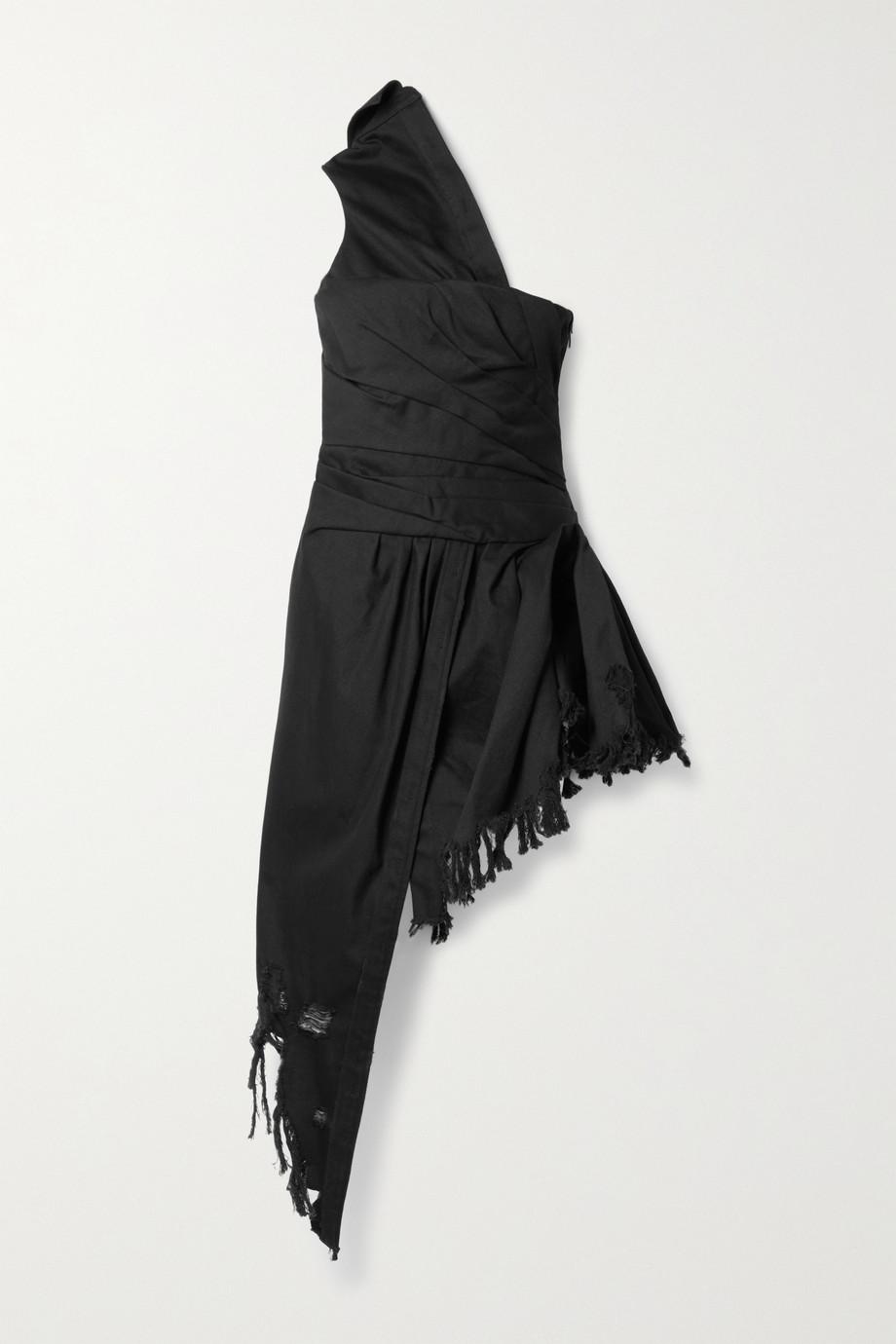 Alexander Wang Asymmetric one-shoulder distressed denim dress
