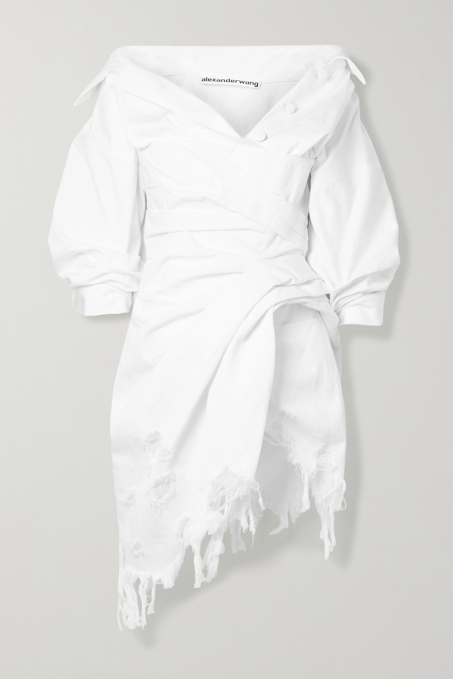 Alexander Wang Gathered distressed denim mini dress