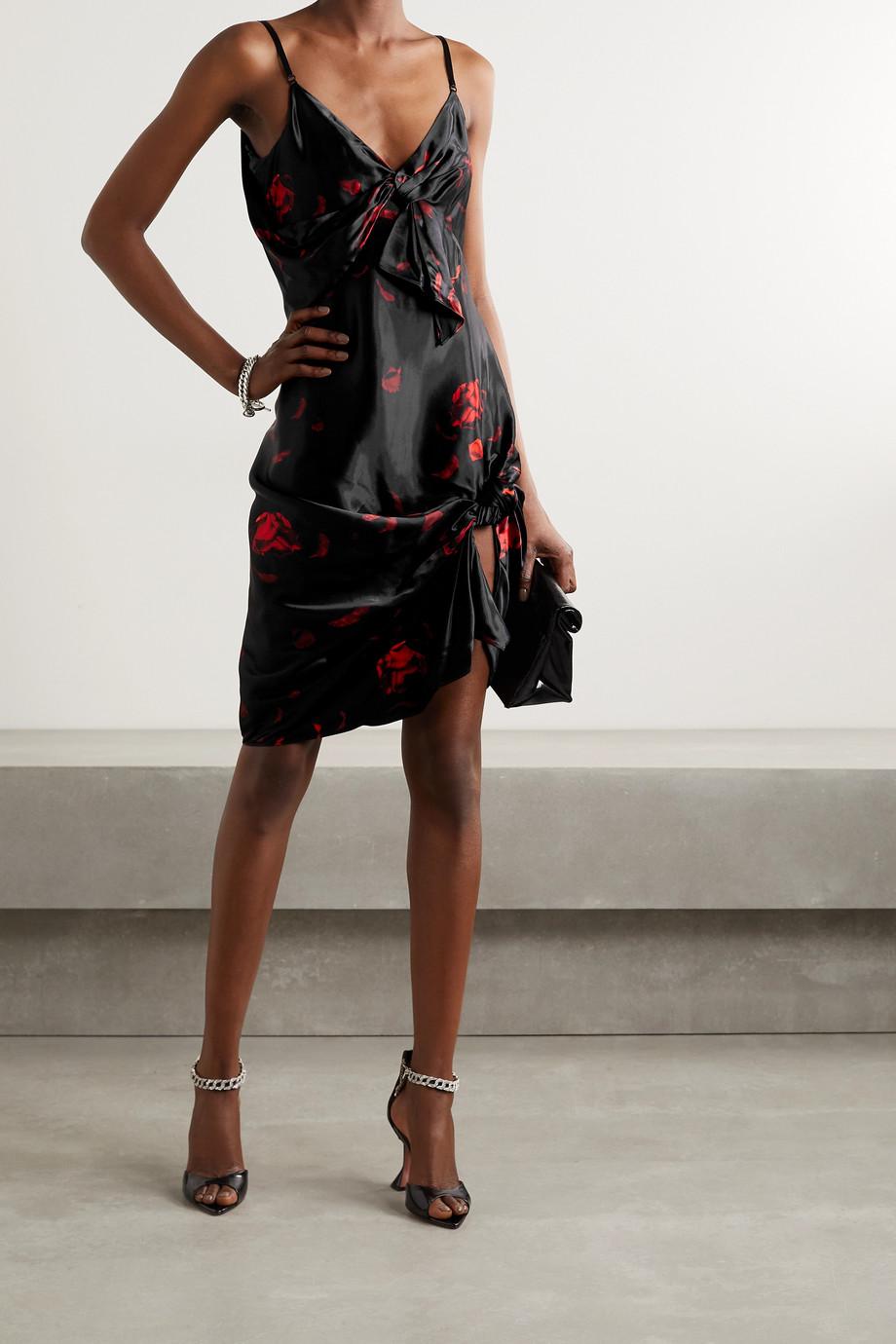 Alexander Wang Knotted floral-print satin mini dress