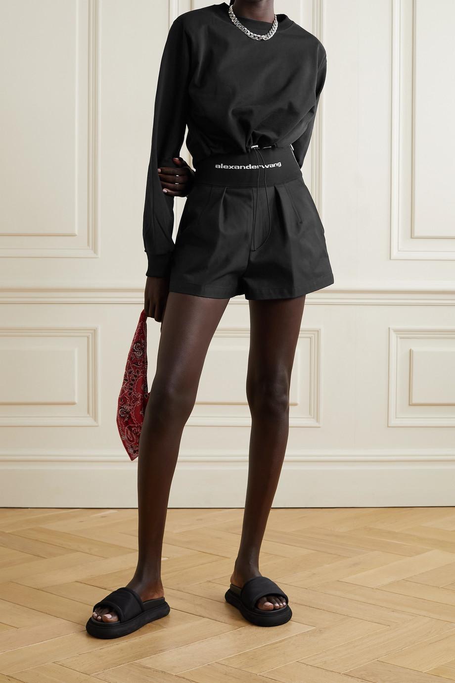 Alexander Wang Safari cotton-blend twill and stretch-jacquard shorts