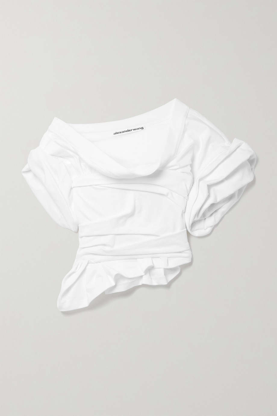 Alexander Wang One-shoulder gathered cotton-jersey top