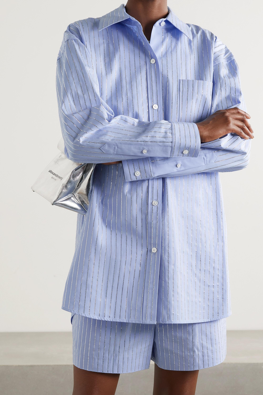 Alexander Wang Athena oversized crystal-embellished cotton-poplin shirt