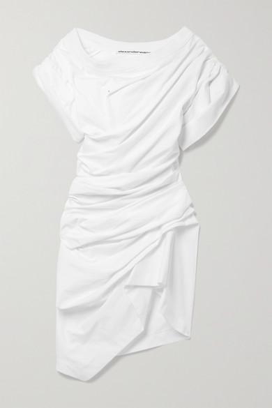 Alexander Wang Asymmetric Gathered Cotton-jersey Mini Dress In White