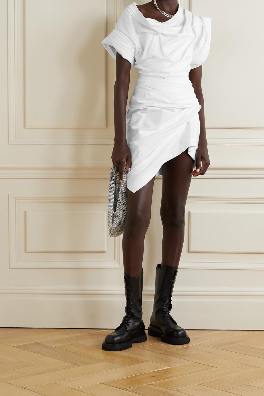 Alexander Wang Asymmetric gathered cotton-jersey mini dress