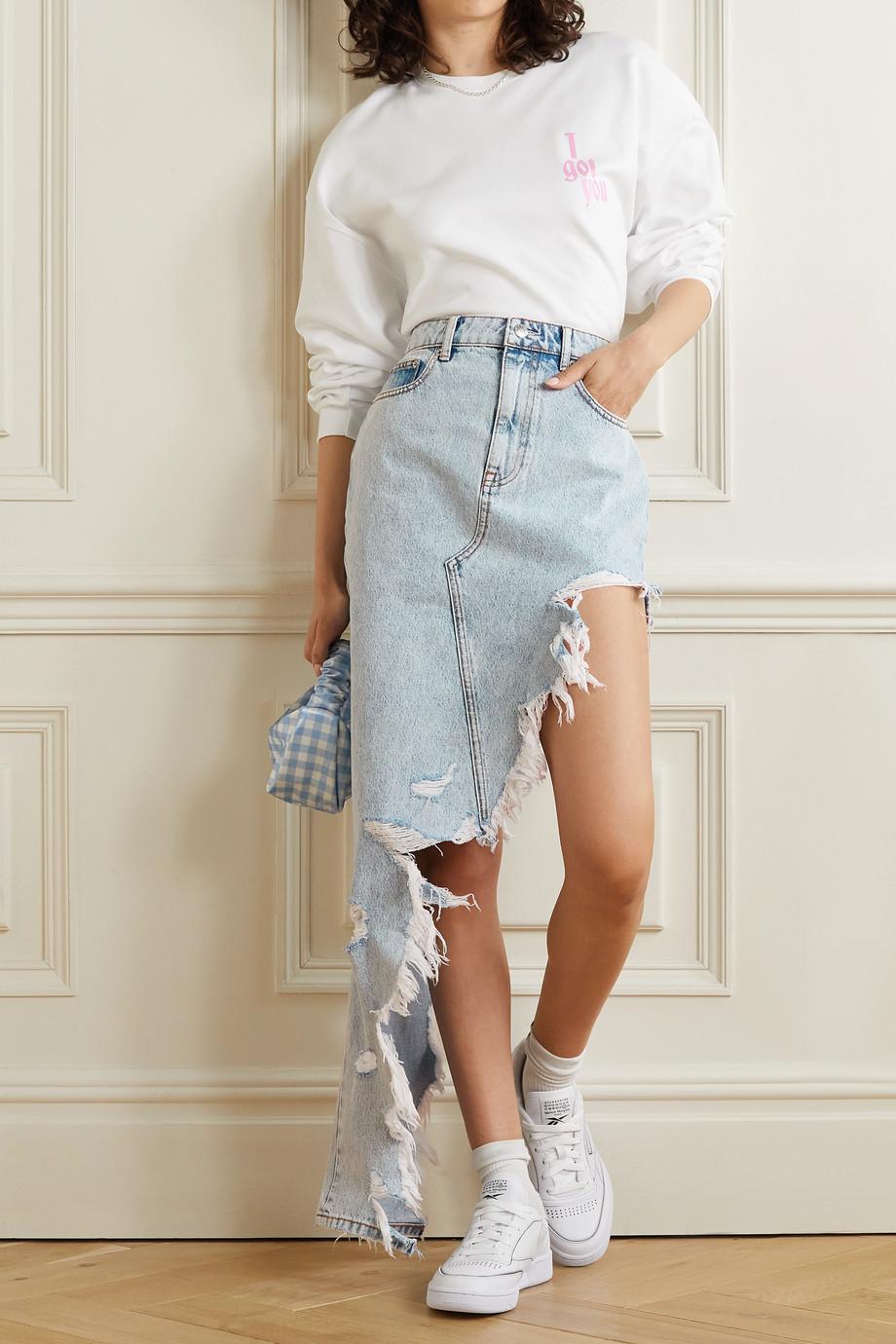 Alexander Wang Asymmetric frayed denim skirt