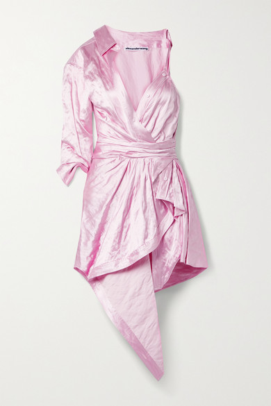 Alexander Wang Dresses ASYMMETRIC LAYERED GATHERED CRINKLED-SATIN DRESS