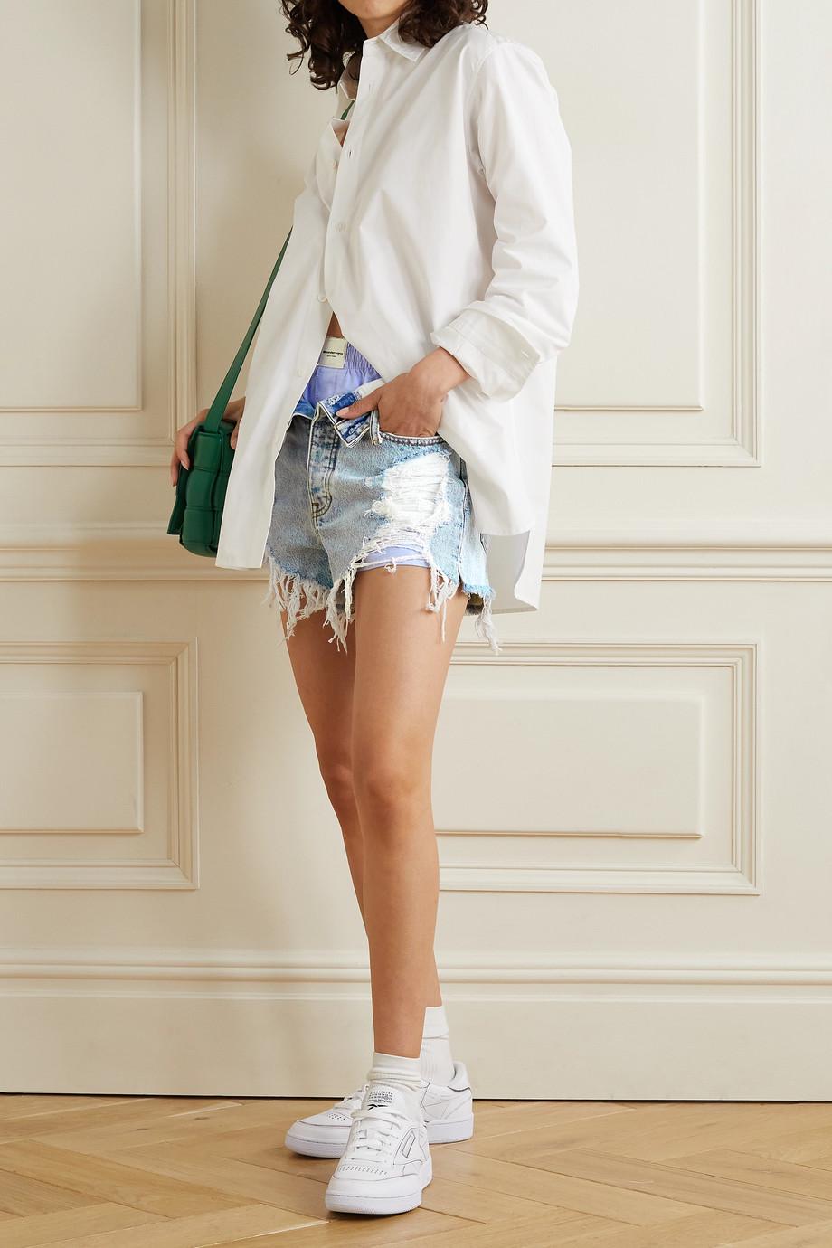 Alexander Wang Bite layered distressed denim and cotton-piqué shorts