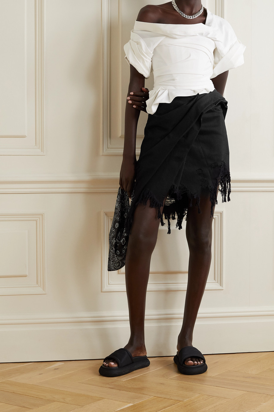 Alexander Wang Frayed asymmetric wrap-effect denim mini skirt