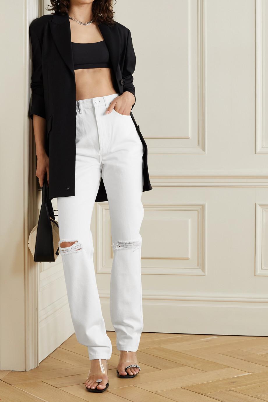 Alexander Wang Distressed high-rise straight-leg jeans