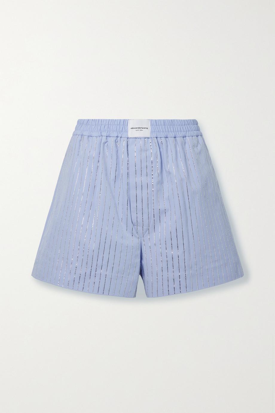 Alexander Wang Athena crystal-embellished cotton-poplin shorts