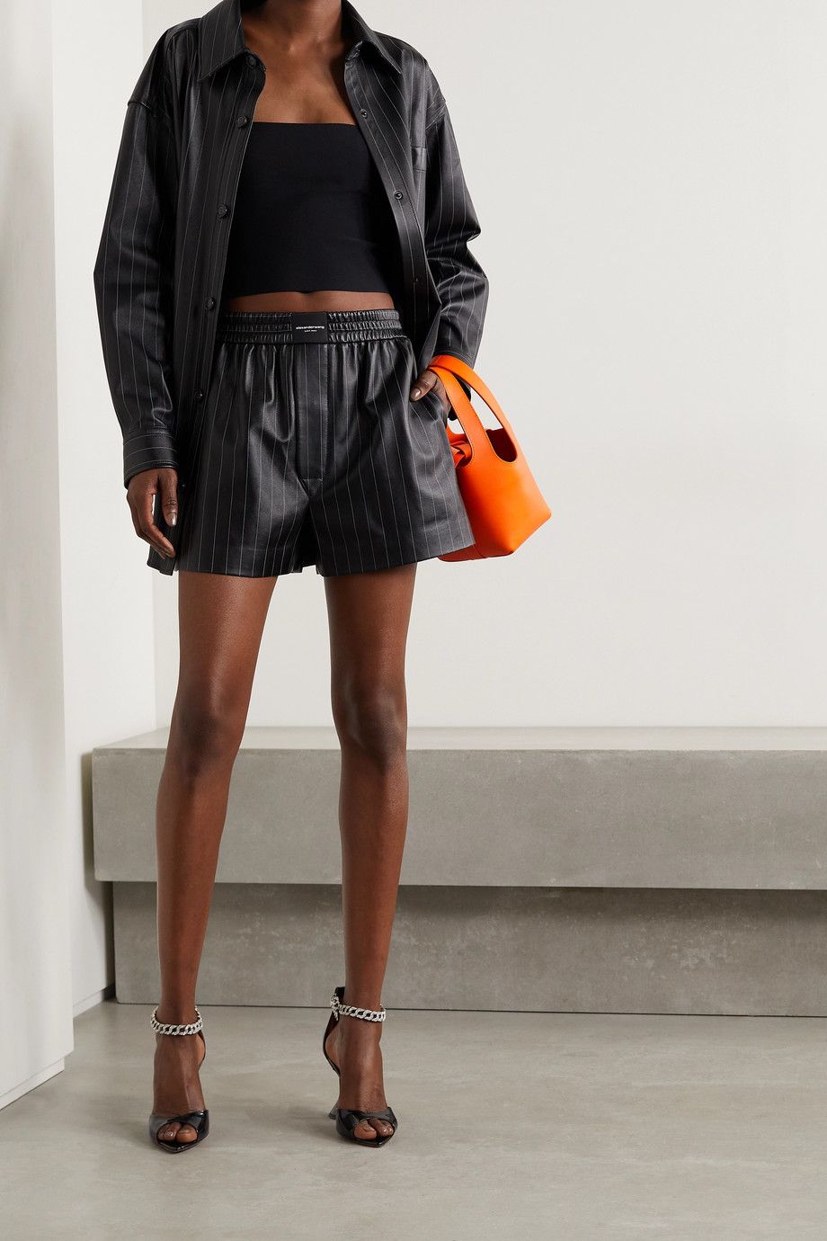 Alexander Wang Pinstriped leather shorts