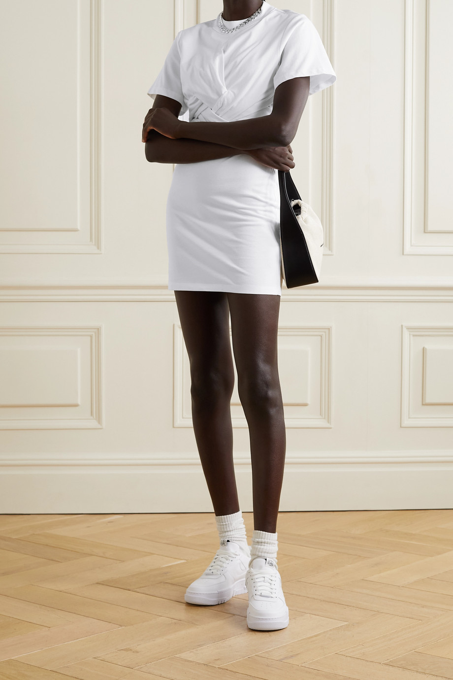 alexanderwang.t Twist-front cotton-jersey mini dress