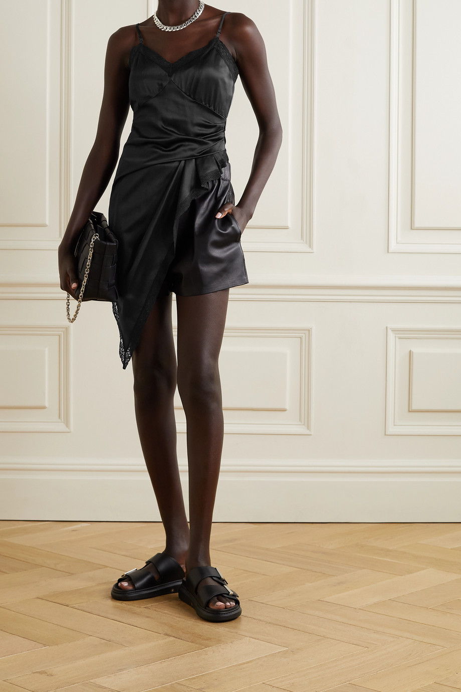 alexanderwang.t Asymmetric draped lace-trimmed silk-charmeuse camisole