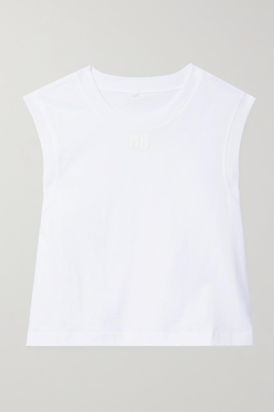 alexanderwang.t Cropped printed cotton-jersey tank