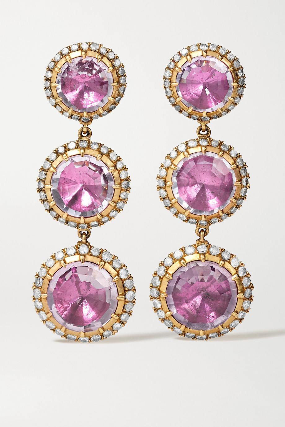 Larkspur & Hawk Illustrated 18-karat rose gold-dipped amethyst and diamond earrings