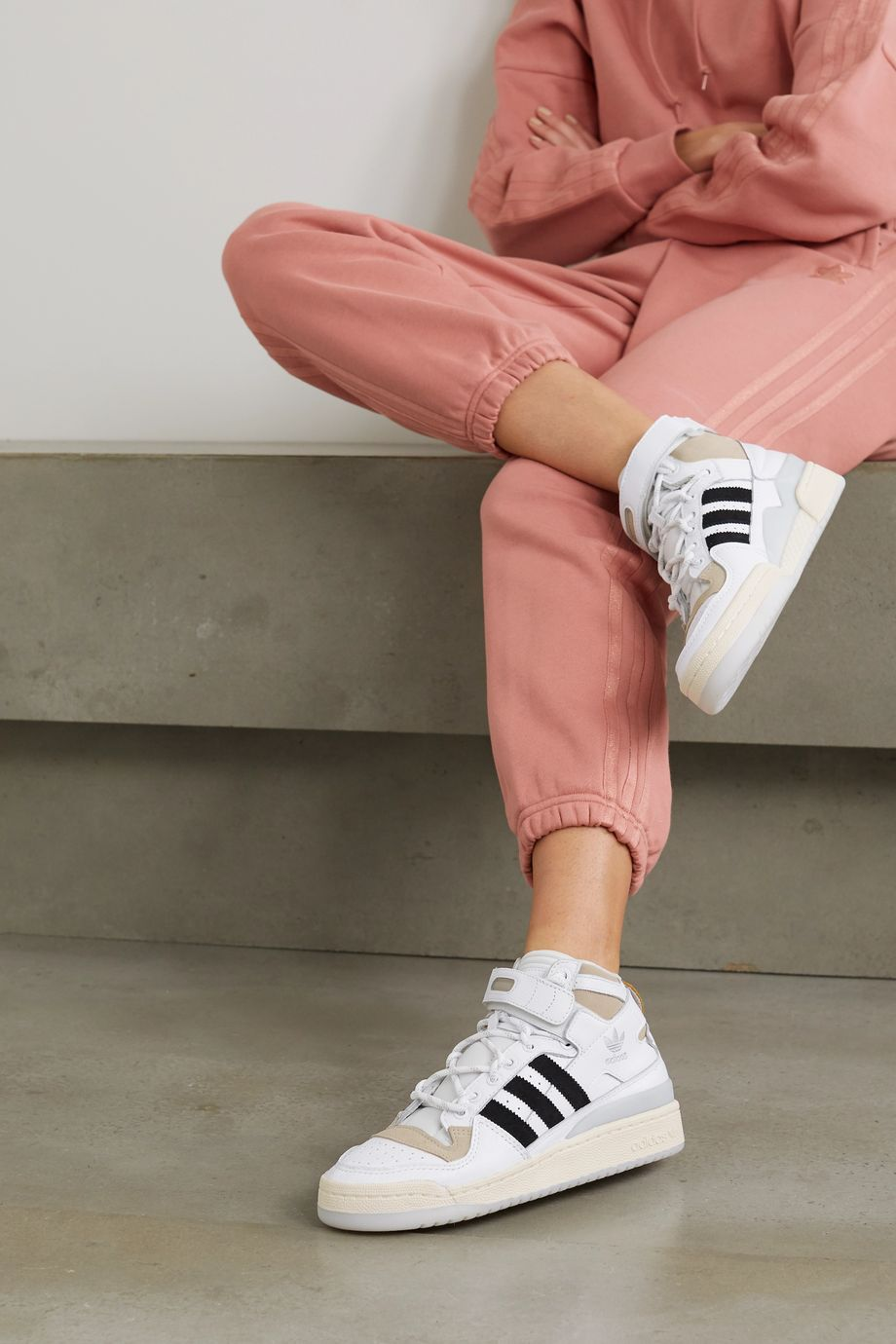 adidas Originals + Ivy Park Forum Mid leather and suede high-top sneakers