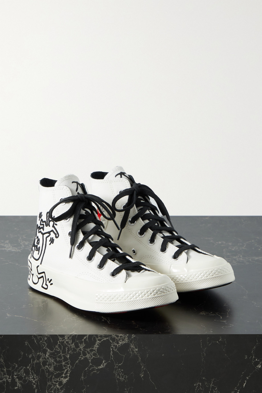 Converse + Keith Haring Chuck 70 embroidered printed canvas high-top sneakers