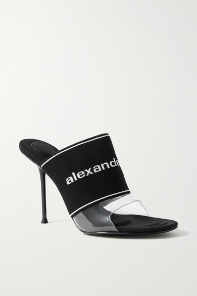 Alexander Wang Sandals SIENNA LOGO-JACQUARD STRETCH-KNIT AND PVC MULES