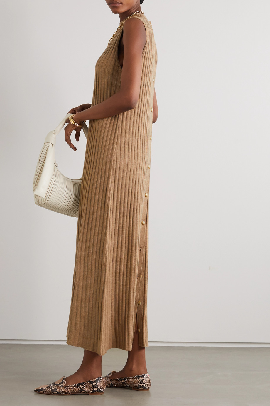 LOULOU STUDIO Andrott ribbed mélange wool and cashmere-blend maxi dress