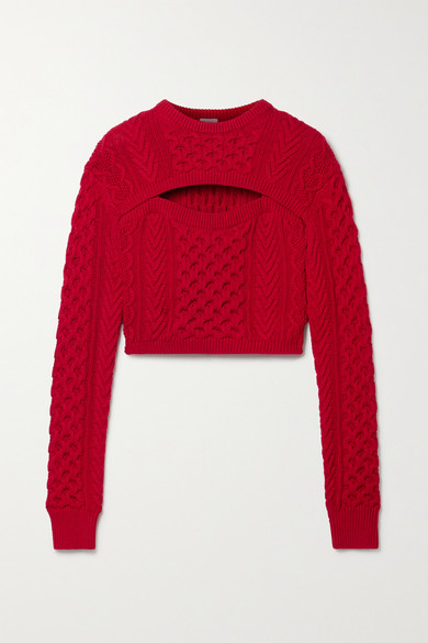 Rosie Assoulin Thousand In One Ways Convertible Merino Wool-blend Sweater In Red