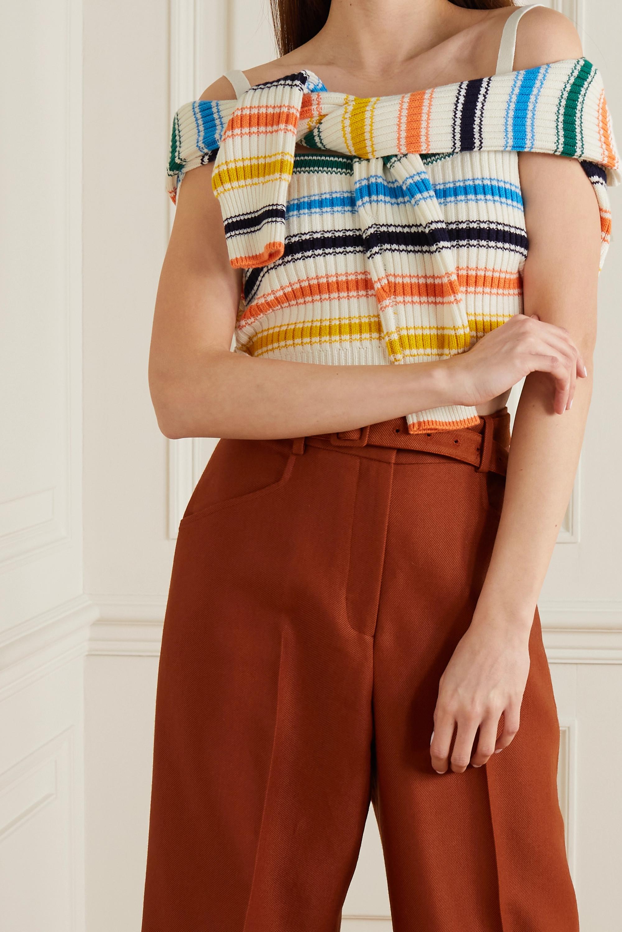Rosie Assoulin Thousand-In-One-Ways verkürzter, wandelbarer Pullover aus einer gerippten Merinowollmischung mit Streifen