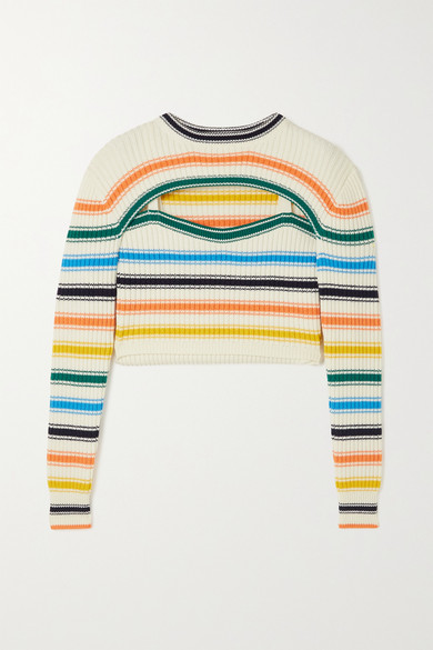 Rosie Assoulin Cottons THOUSAND-IN-ONE-WAYS CONVERTIBLE CROPPED STRIPED RIBBED MERINO WOOL-BLEND SWEATER