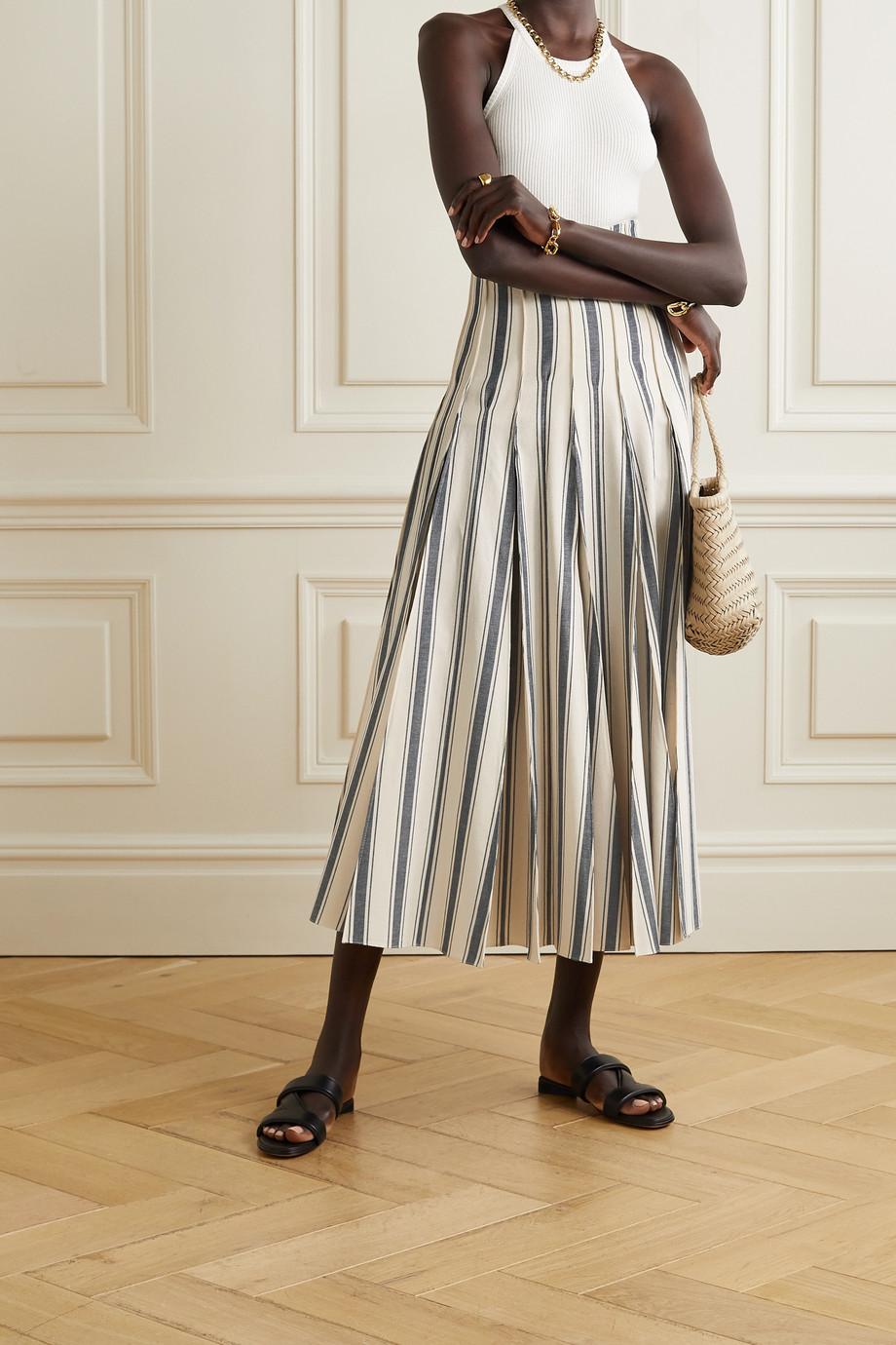 Rosie Assoulin Million Pleats striped cotton-canvas midi skirt