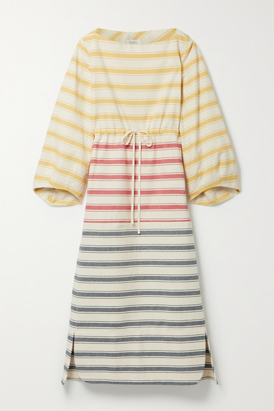 Rosie Assoulin STRIPED COTTON-CANVAS MIDI DRESS