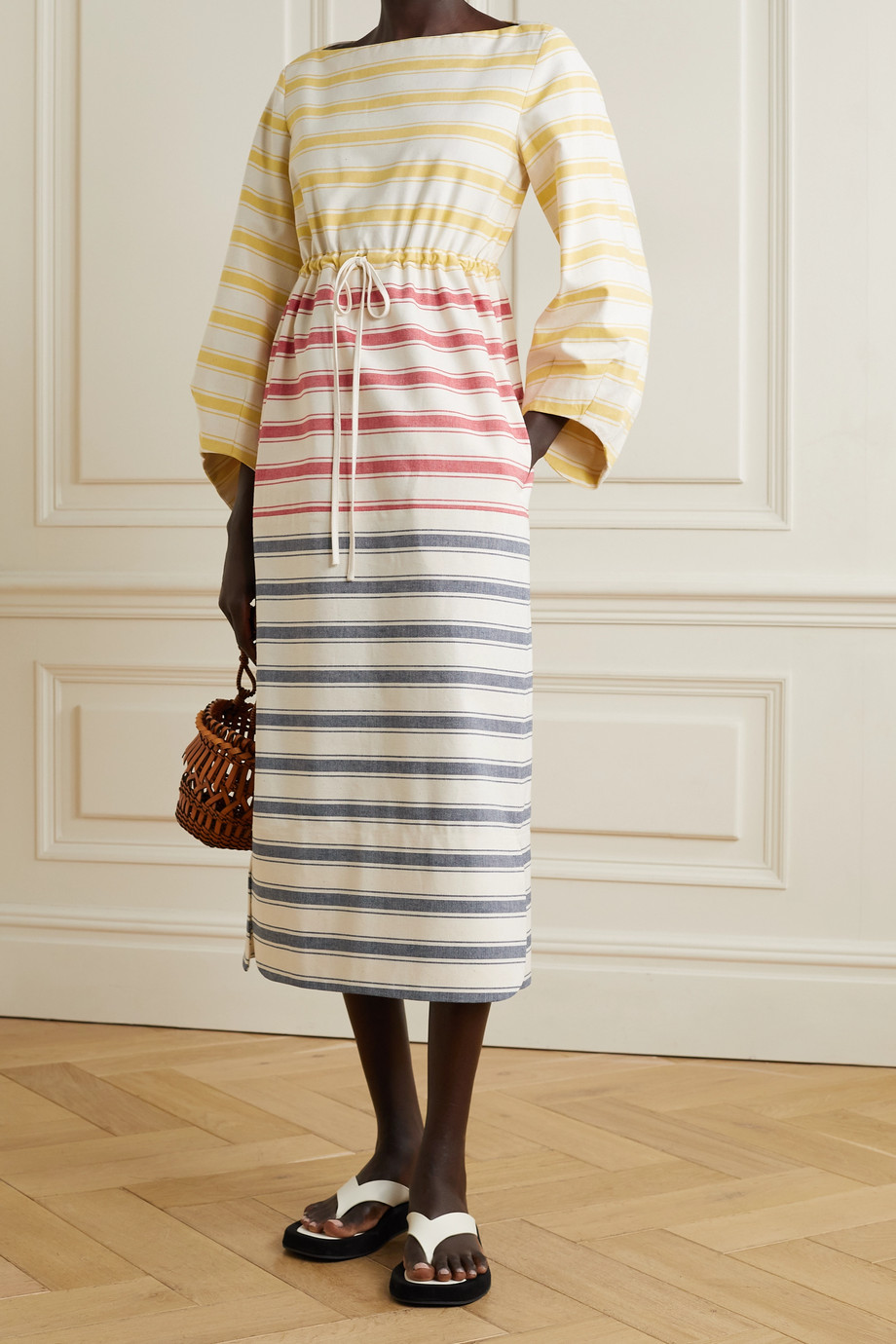 Rosie Assoulin Striped cotton-canvas midi dress