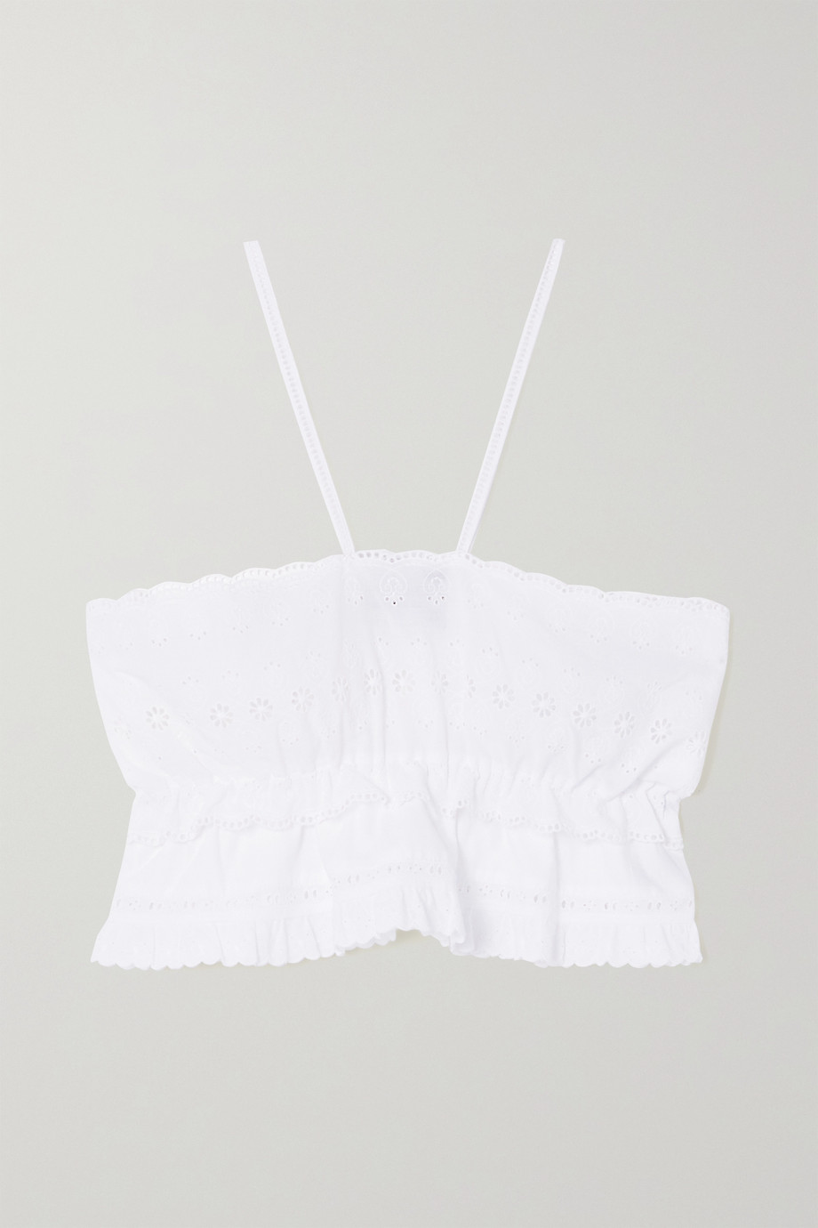 MaisonCléo + NET SUSTAIN Mimi ruffled broderie anglaise cotton top
