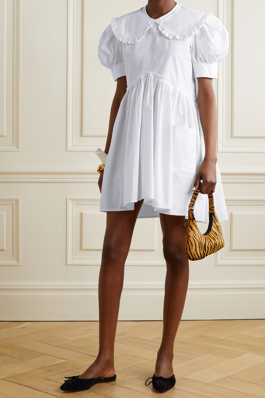 MaisonCléo Mini-robe en popeline de coton à finitions en broderie anglaise Josepha - NET SUSTAIN