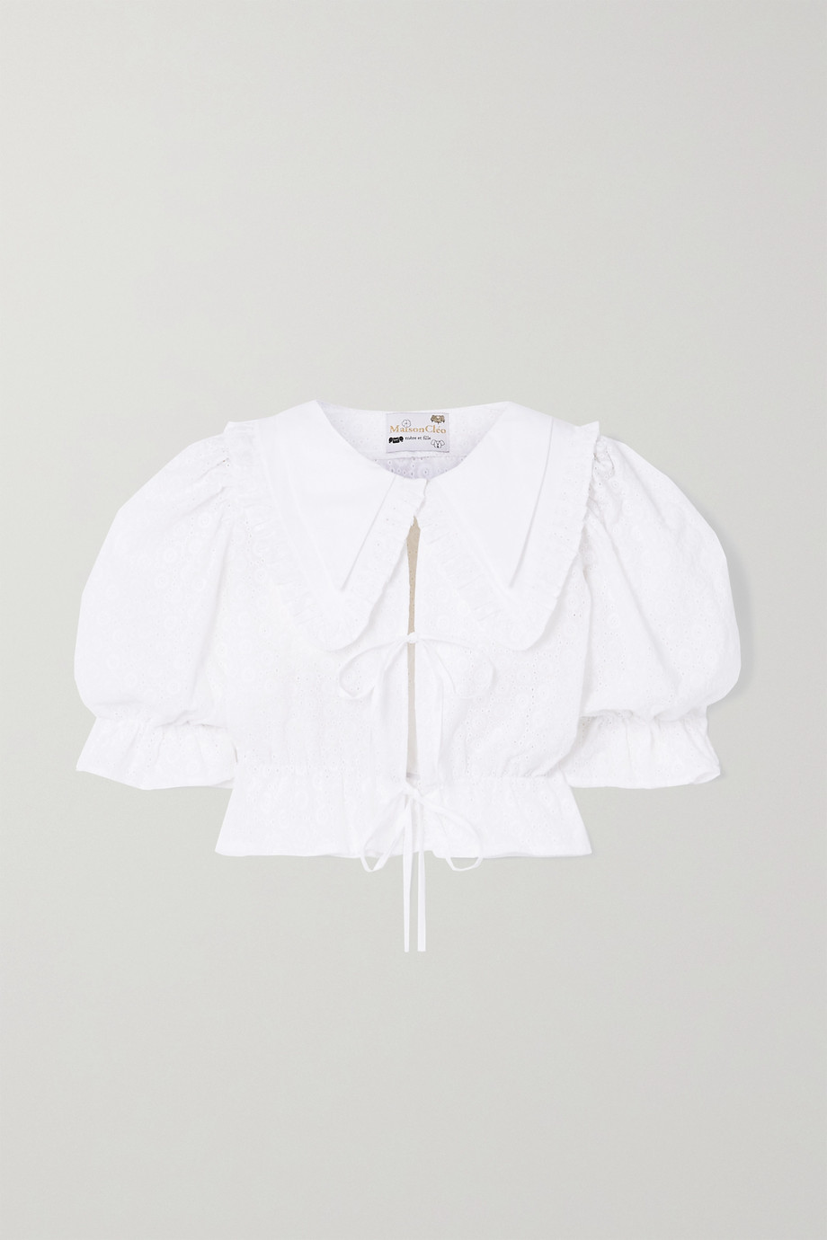 MaisonCléo Angele tie-front broderie anglaise cotton blouse