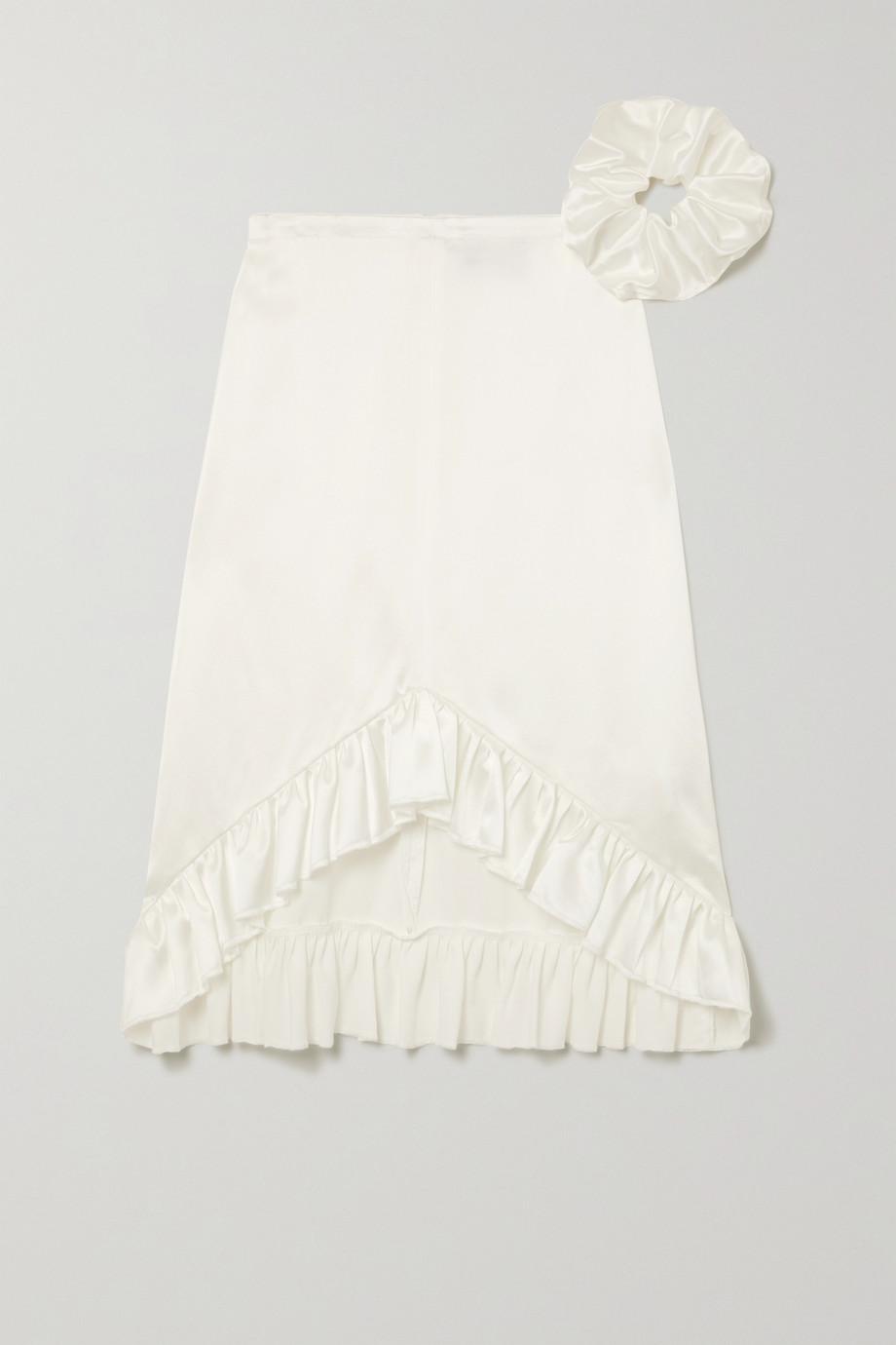 MaisonCléo + NET SUSTAIN Gaelle asymmetric ruffled silk-satin skirt
