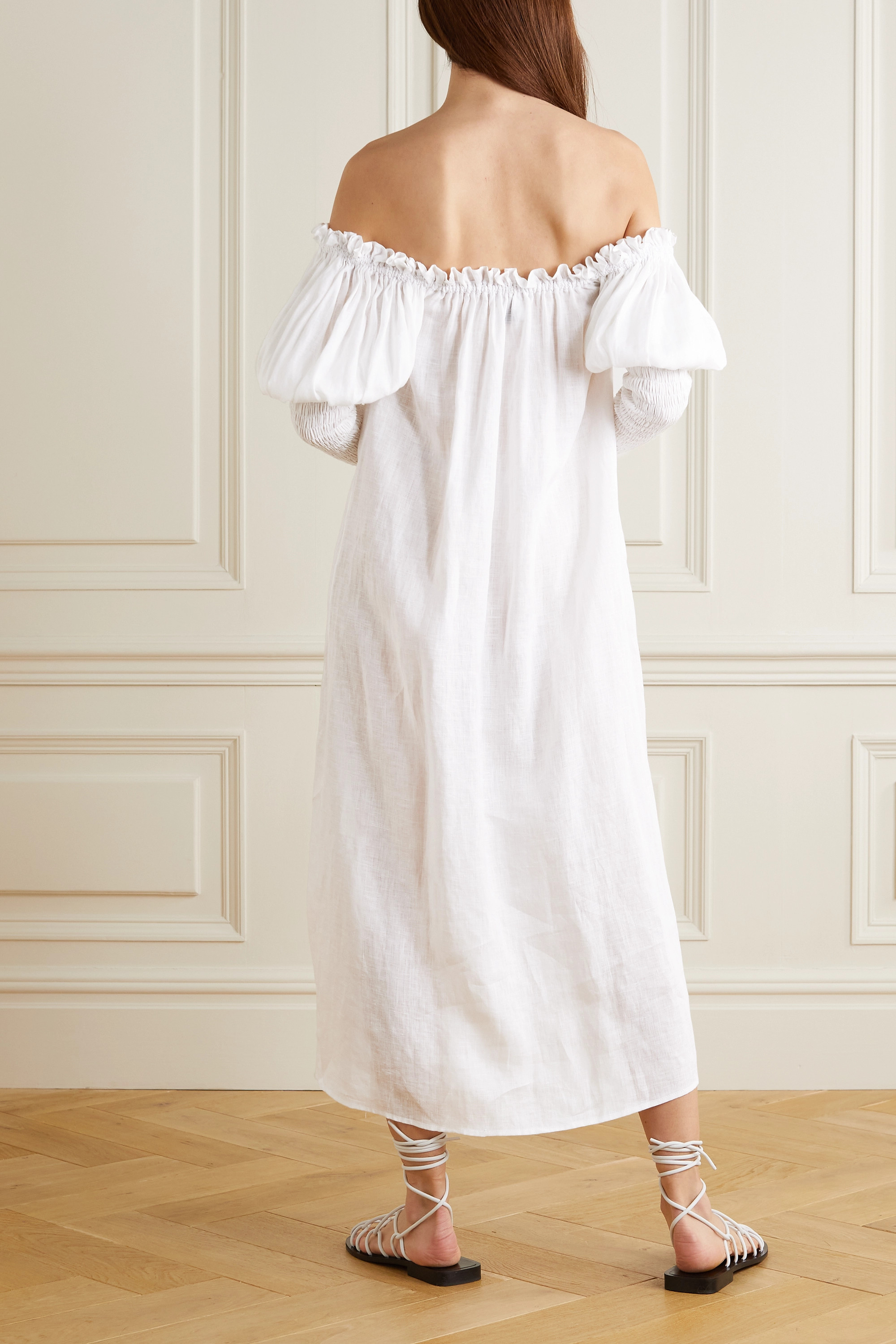Sleeper Opera off-the-shoulder lace-trimmed linen midi dress