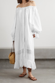 Sleeper Paloma off-the-shoulder crochet-trimmed linen midi dress