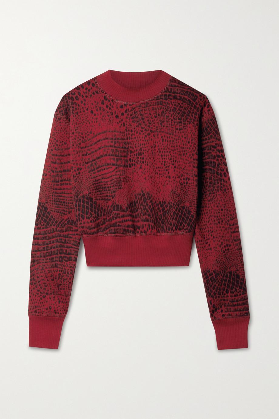 TWENTY Montréal Caiman Hyper Reality cropped jacquard-knit cotton-blend sweater