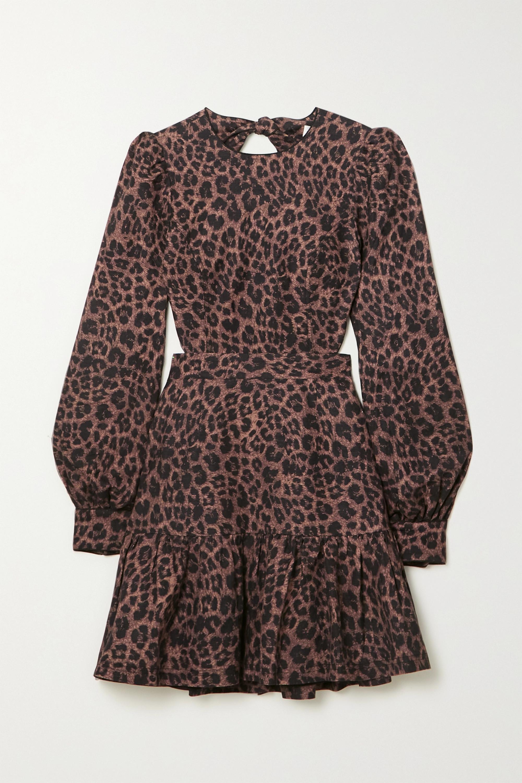 Rebecca Vallance YASI CUTOUT TIERED LEOPARD-PRINT LINEN-BLEND MINI DRESS