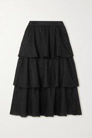Rebecca Vallance Layla tiered linen midi skirt