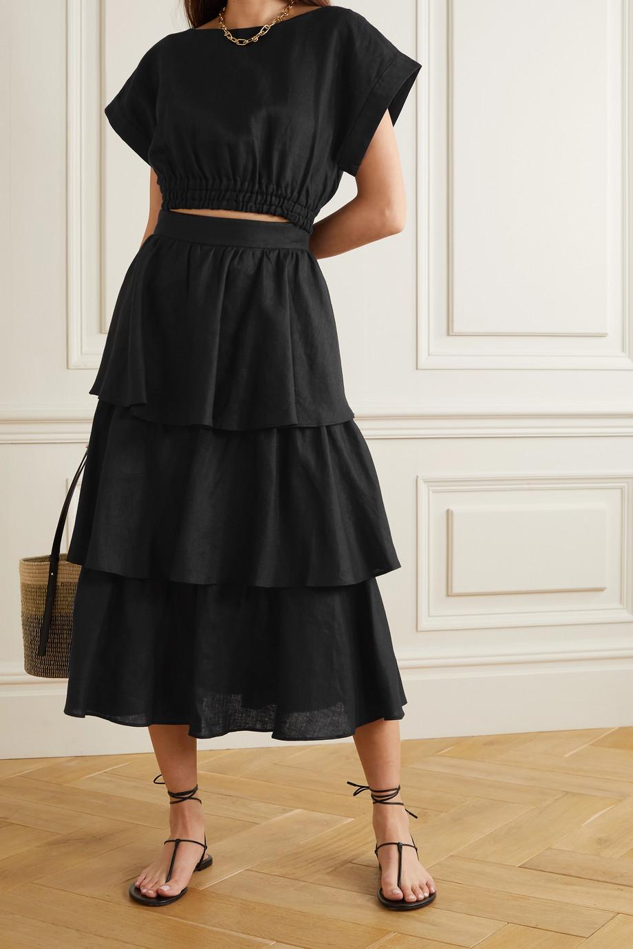 Rebecca Vallance Layla tiered linen midi skirt