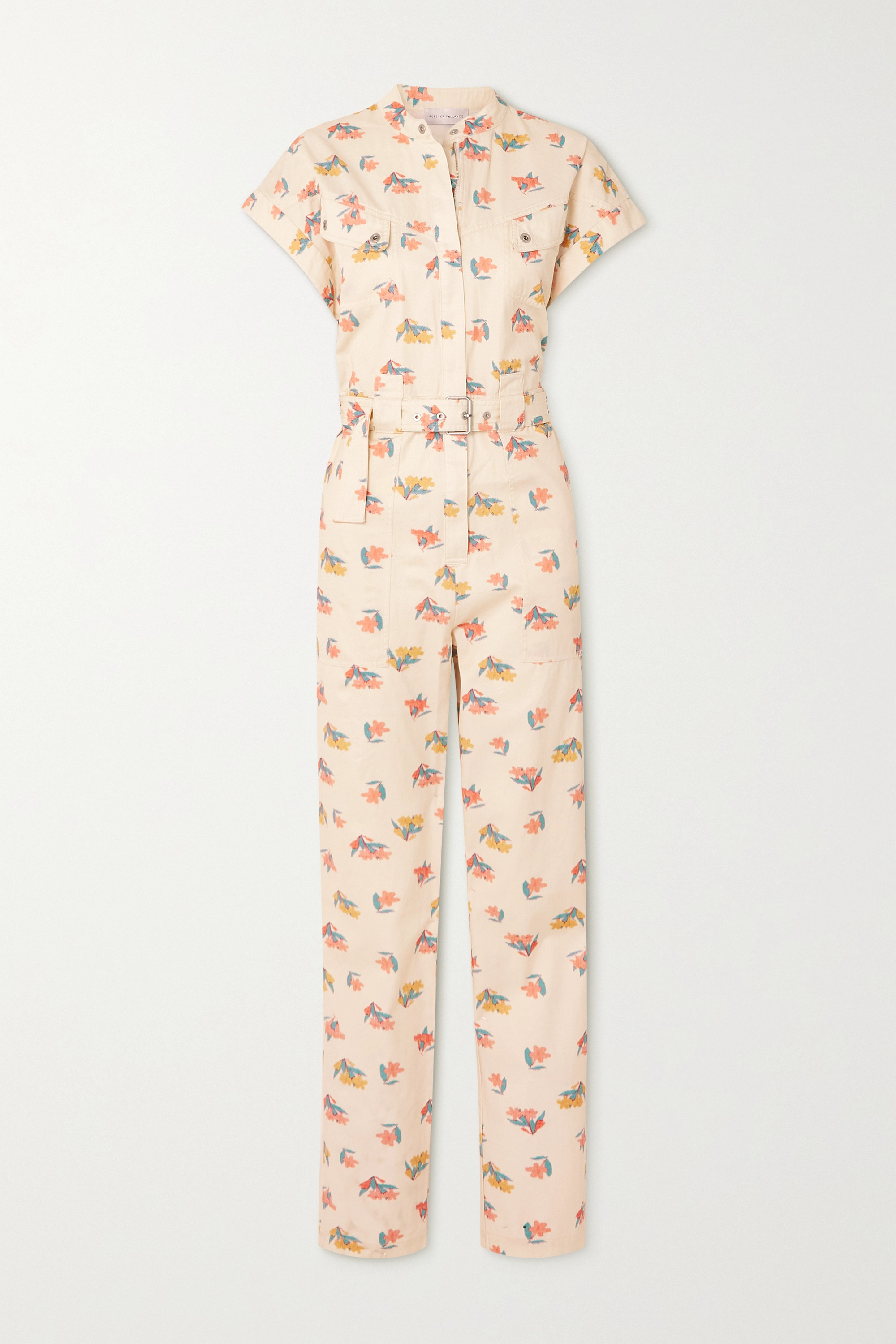 Rebecca Vallance HADI BELTED FLORAL-PRINT COTTON-TWILL JUMPSUIT