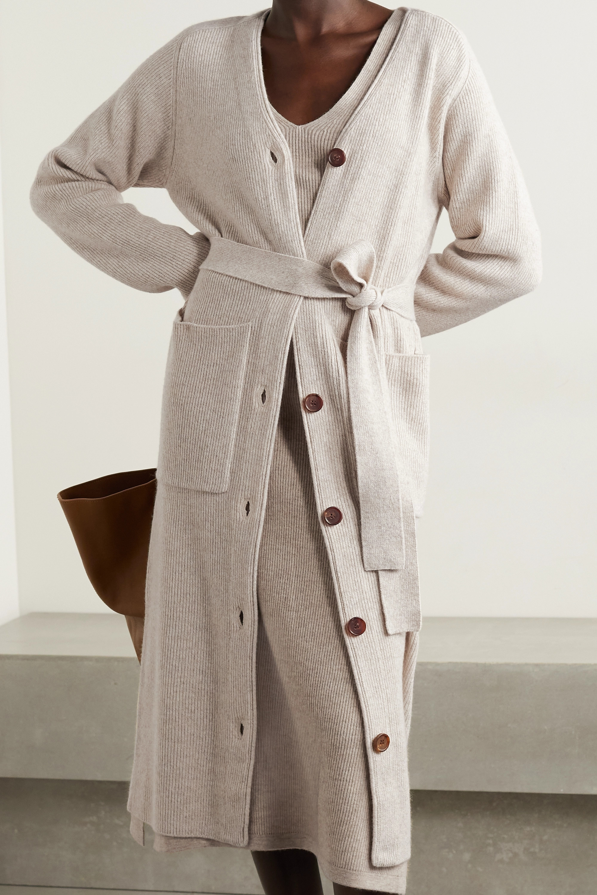 Co Belted ribbed wool and cashmere-blend cardigan