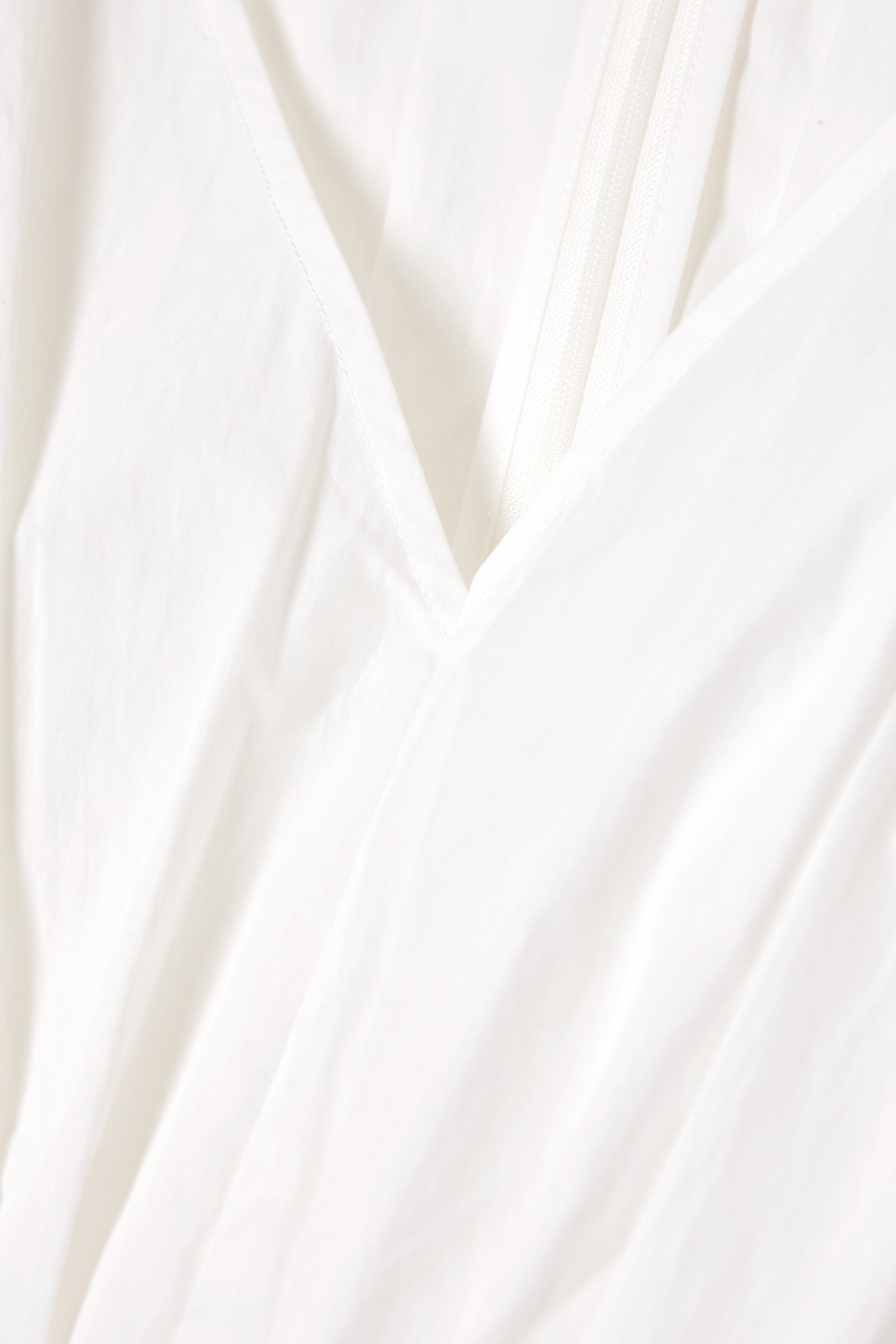 Co Gathered pleated cotton-blend poplin blouse