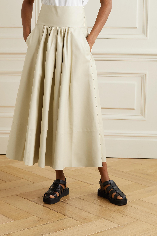Co Gathered leather midi skirt