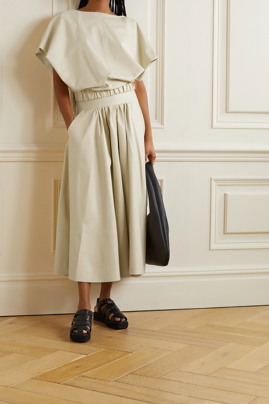 Co Gathered leather midi skirt