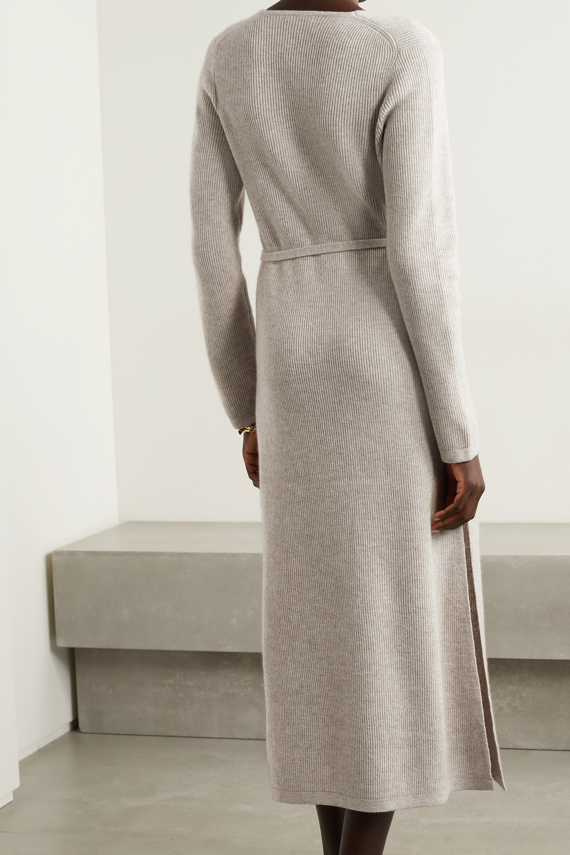 Co Belted ribbed mélange wool and cashmere-blend midi dress
