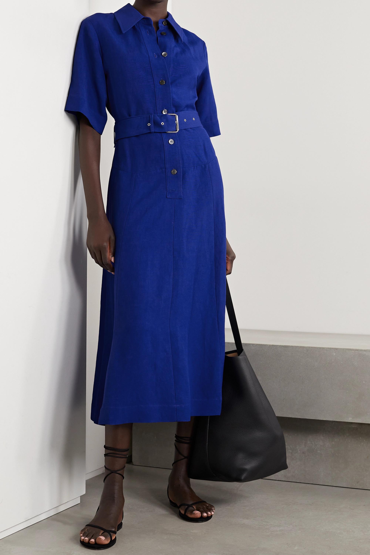 Co Belted woven midi shirt dress