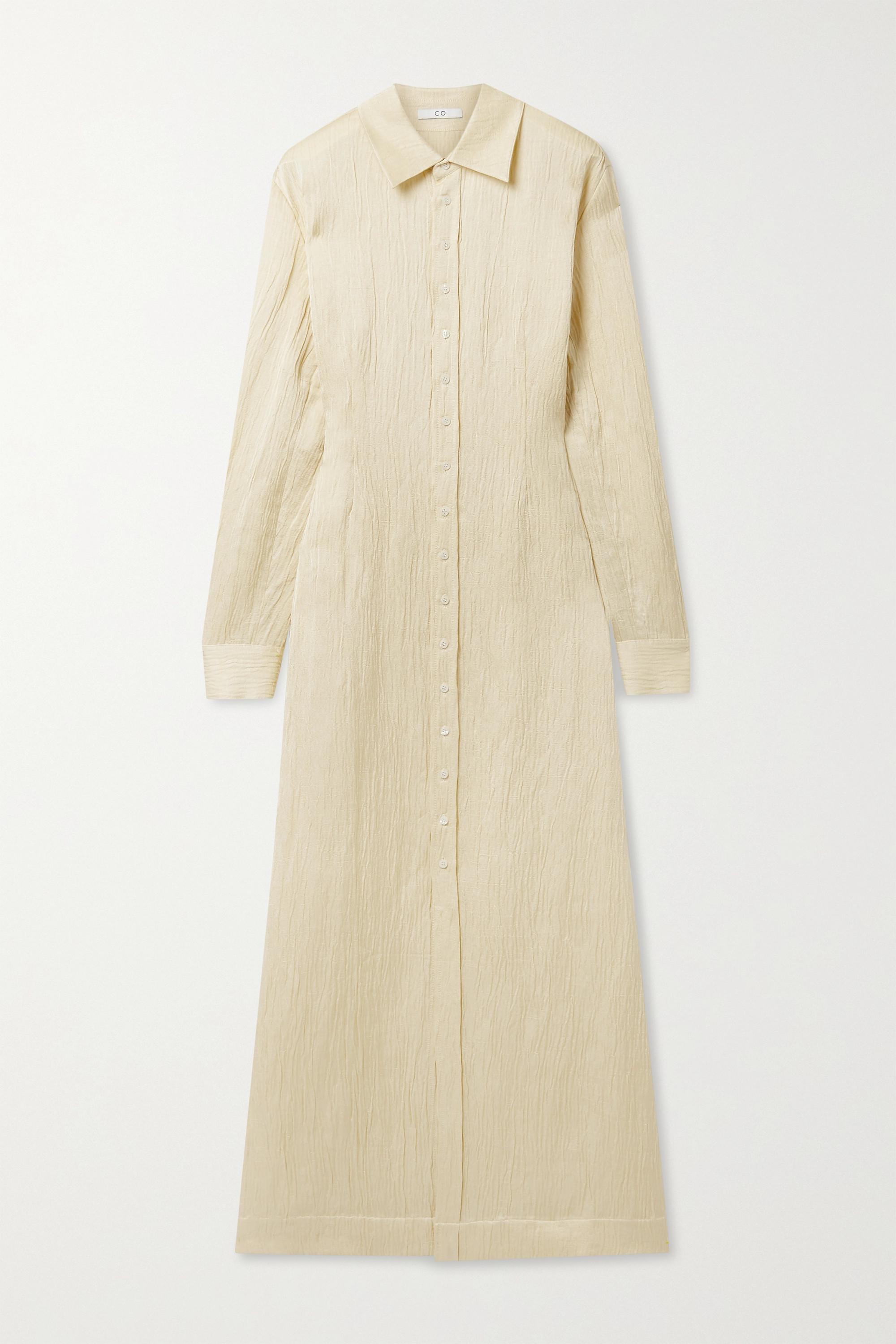 Co Crinkled linen-blend maxi shirt dress