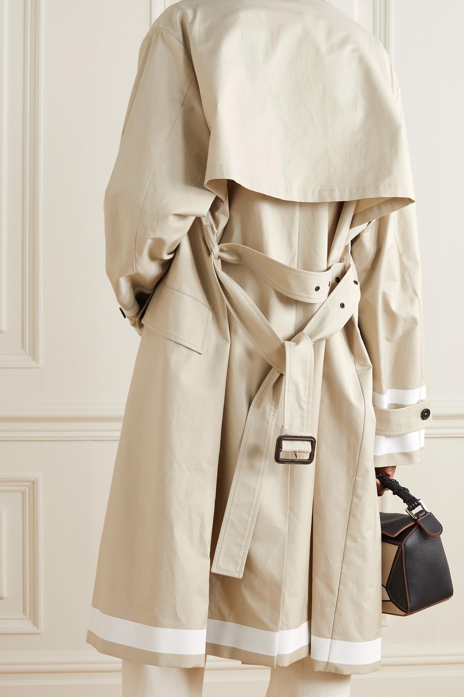 Stella McCartney Belted striped cotton-blend gabardine trench coat