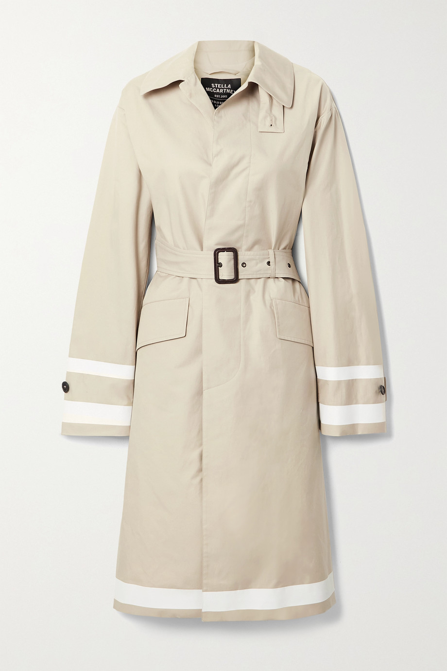 Stella McCartney Belted striped cotton-blend gabardine trench coat