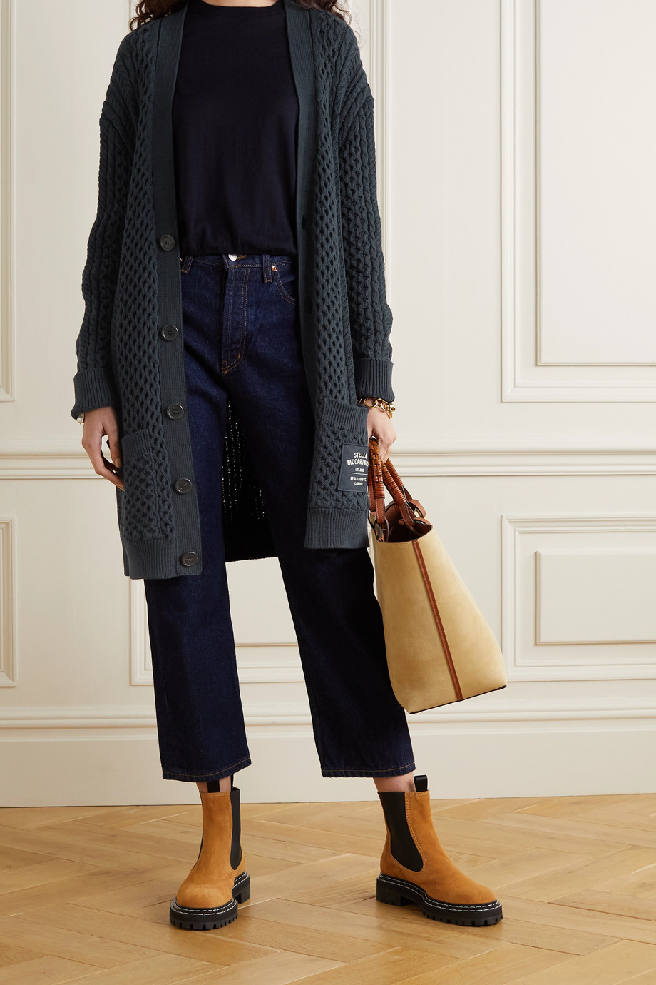 Stella McCartney Cable-knit organic cotton-blend cardigan